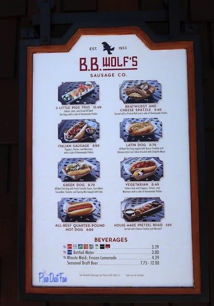 BB Wolf's Menu